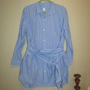 GAP Tie Waist Blue Button Down Tunic - Large